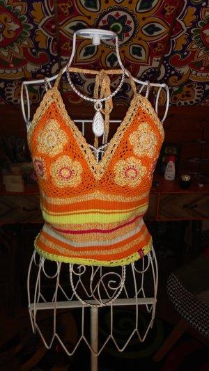 Top lavorato a maglia arancione chiaro