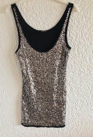 Tolles stylisches pailletten glitzer top shirt oberteil von tally weijl gr. M silber blogger