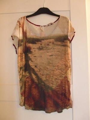 Tolles T-Shirt von GARCIA JEANS, naturfarben mit Print - Gr. M (38)