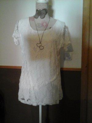 tolles Tom Tailor Shirt XL creme weiß mit spitze