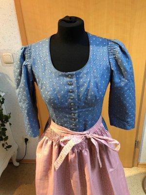 Dirndl bleu azur-rosé
