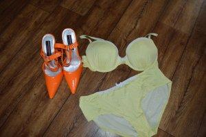 Conjunto de lencería blanco-amarillo