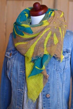 tolles weiches Tuch Mel & Davis ungetragen NP 90€ Leinen grün gelb Herbstfarben