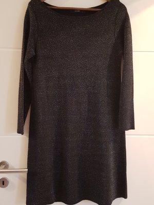 Hallhuber Vestido de lana negro-color plata