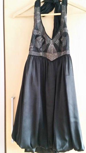 Zara Robe dos-nu noir-argenté polyester
