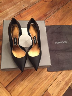 TOM FORD Pumps Schwarz Gr. 40,5 Echtleder 9cm Absatz Gold High Heels Neu