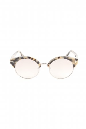 Tom Ford Retro Brille schwarz-creme abstraktes Muster Street-Fashion-Look