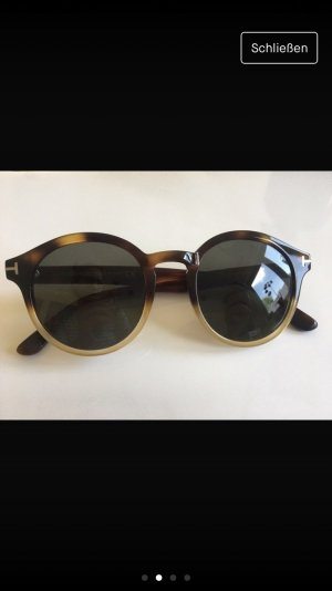 Tom Ford Occhiale da sole rotondo marrone scuro-color cammello