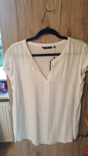Tom Tailor Camisa con cuello V blanco