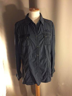 Tom Tailer: Tolles Knitterhemd aus dunkelblauer Baumwolle.