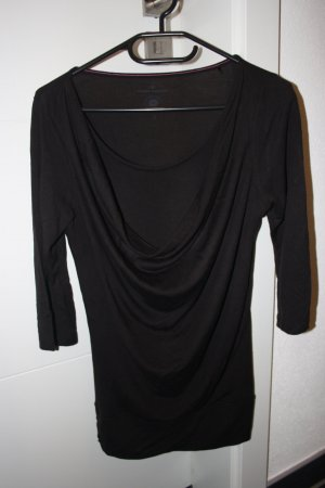 Tom Tailor 3/4 Shirt in Layeroptik mit Wasserfallkragen, Gr.S, schwarz
