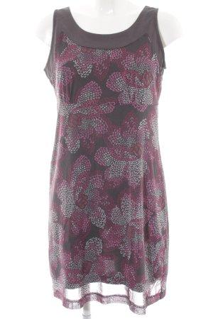 Tom Tailor A-Linien Kleid grau-violett florales Muster Casual-Look