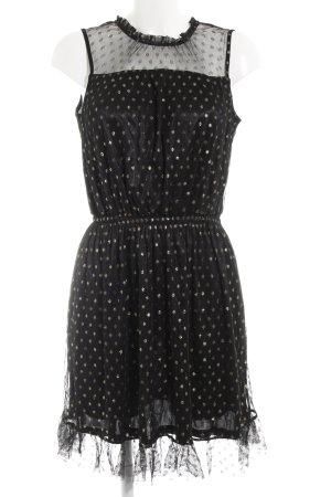 Tom Tailor A-Linien Kleid schwarz-goldfarben Punktemuster Paris-Look