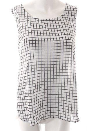 Tom Tailor ärmellose Bluse weiß-dunkelblau grafisches Muster Casual-Look