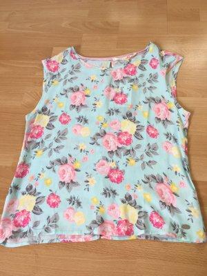 Tom Tailor Bluse Muster S 36 38 neu Etikett Blumen rückenfrei blau rosa gelb