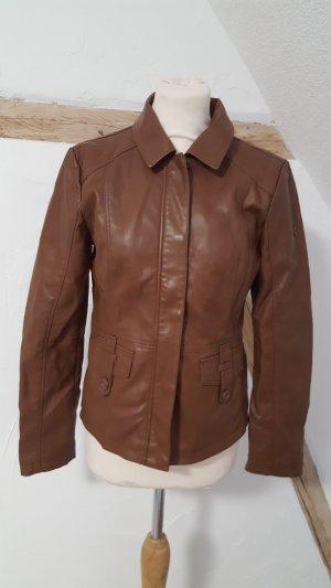 Tom Tailor Casual Vintage Kunstlederjacke dunkelbraun Größe S