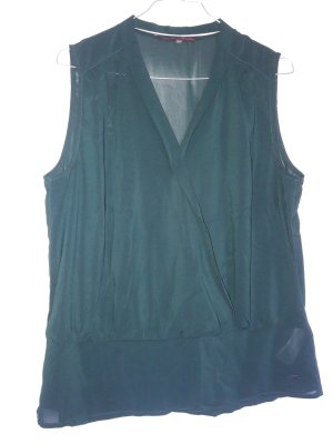 Tom Tailor Denim ärmellose Bluse Wickeloptik dunkelgrün Gr. M