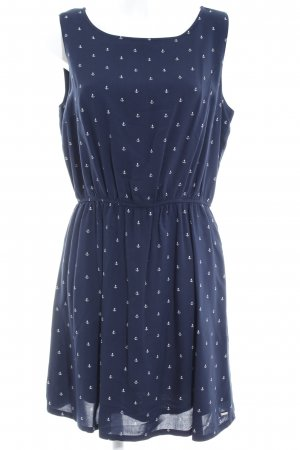 Tom Tailor Denim Blusenkleid dunkelblau-weiß Motivdruck Beach-Look