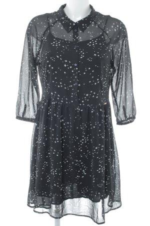 Tom Tailor Denim Blusenkleid schwarz-weiß Sternenmuster Street-Fashion-Look