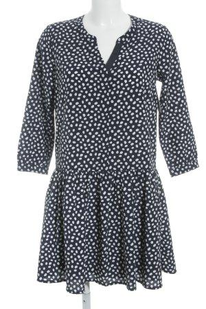 Tom Tailor Denim Blusenkleid stahlblau-weiß Punktemuster Romantik-Look