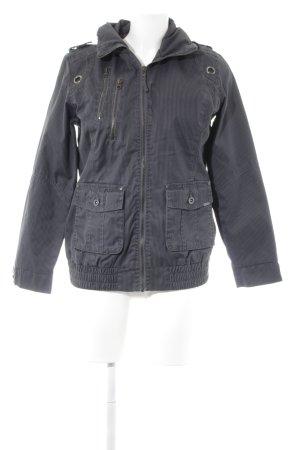 Tom Tailor Denim Jeansjacke schwarz-grau Streifenmuster Metallelemente