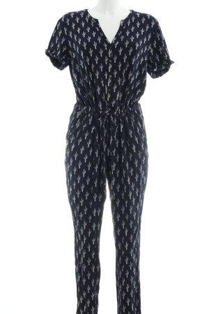 Tom Tailor Denim Jumpsuit dunkelblau-wollweiß Allover-Druck schlichter Stil