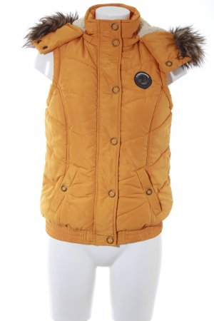 Tom Tailor Denim Hooded Vest gold orange quilting pattern casual look