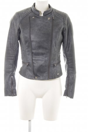 Tom Tailor Denim Kunstlederjacke anthrazit Biker-Look