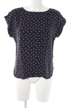 Tom Tailor Denim Kurzarm-Bluse dunkelblau-weiß grafisches Muster