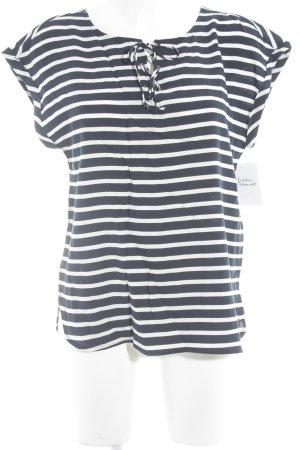 Tom Tailor Denim Kurzarm-Bluse dunkelblau-weiß Streifenmuster