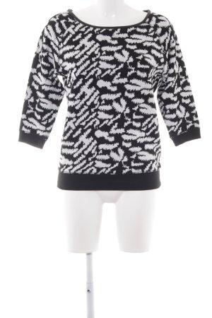 Tom Tailor Denim Kurzarmpullover weiß-schwarz abstraktes Muster Casual-Look