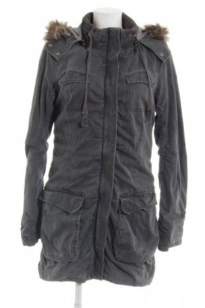 Tom Tailor Denim Lange Jacke grau Kuschel-Optik