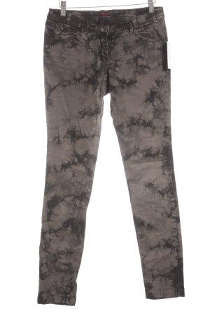Tom Tailor Denim Röhrenhose schwarz-graubraun Batikmuster Boho-Look