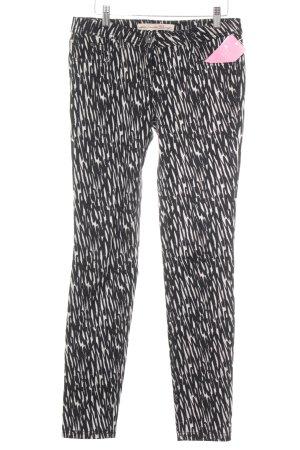 Tom Tailor Denim Pantalon cigarette noir-blanc cassé motif d'art