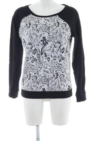 Tom Tailor Denim Rundhalspullover schwarz-weiß Blumenmuster Casual-Look
