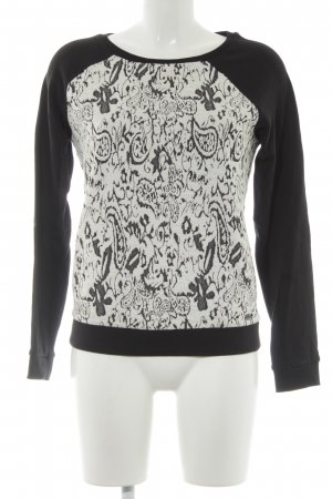 Tom Tailor Denim Rundhalspullover schwarz-weiß florales Muster Casual-Look