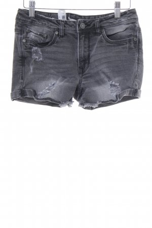 Tom Tailor Denim Shorts grau-wollweiß Destroy-Optik