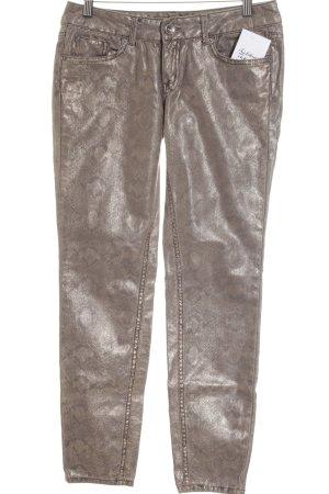 Tom Tailor Denim Slim Jeans goldfarben-grau Animalmuster Animal-Look