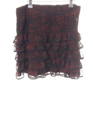 Tom Tailor Denim Gelaagde rok rood-zwart volledige print casual uitstraling