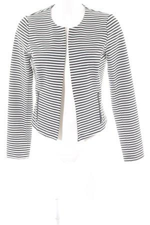Tom Tailor Denim Sweat Blazer black-white striped pattern athletic style