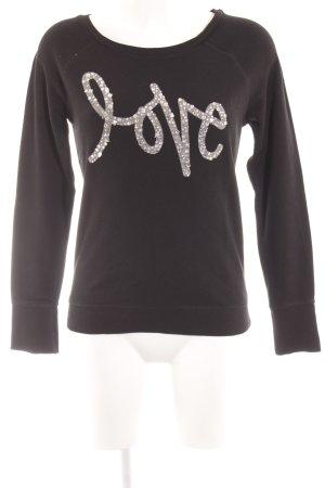 Tom Tailor Denim Sweatshirt schwarz-silberfarben Schriftzug gedruckt Casual-Look