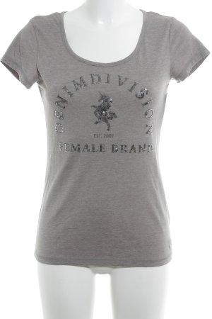 Tom Tailor Denim T-Shirt grau platzierter Druck Casual-Look