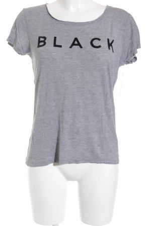 Tom Tailor Denim T-Shirt grau-schwarz Schriftzug gedruckt Casual-Look