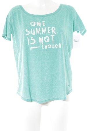 Tom Tailor Denim T-Shirt türkis-weiß Schriftzug gedruckt Casual-Look
