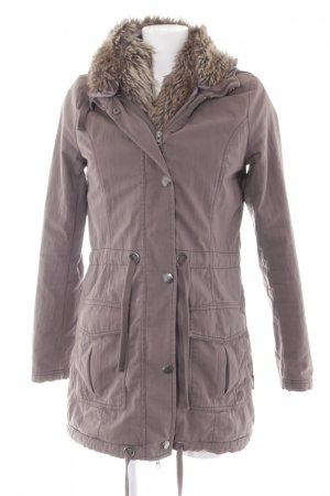 Tom Tailor Denim Winterjacke graubraun-blasslila Casual-Look