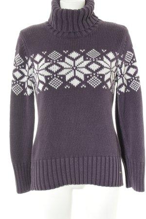 Tom Tailor Grobstrickpullover dunkelviolett-weiß Casual-Look