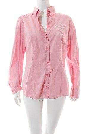 Tom Tailor Hemd-Bluse rosa-weiß Schriftzug gestickt Casual-Look