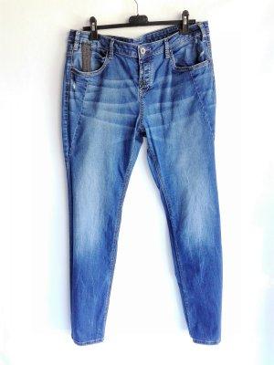 Tom Tailor Pantalon boyfriend bleu acier coton