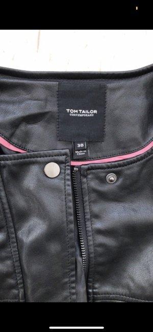 Tom Tailor Chaqueta de cuero de imitación negro