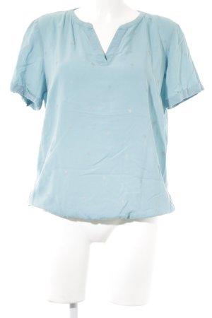 Tom Tailor Kurzarm-Bluse hellblau-silberfarben Motivdruck Casual-Look